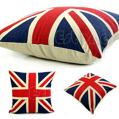 "Union Jack UK Flag Linen Home Decorative Cushion Cover Square 16"" Pillow Cases"