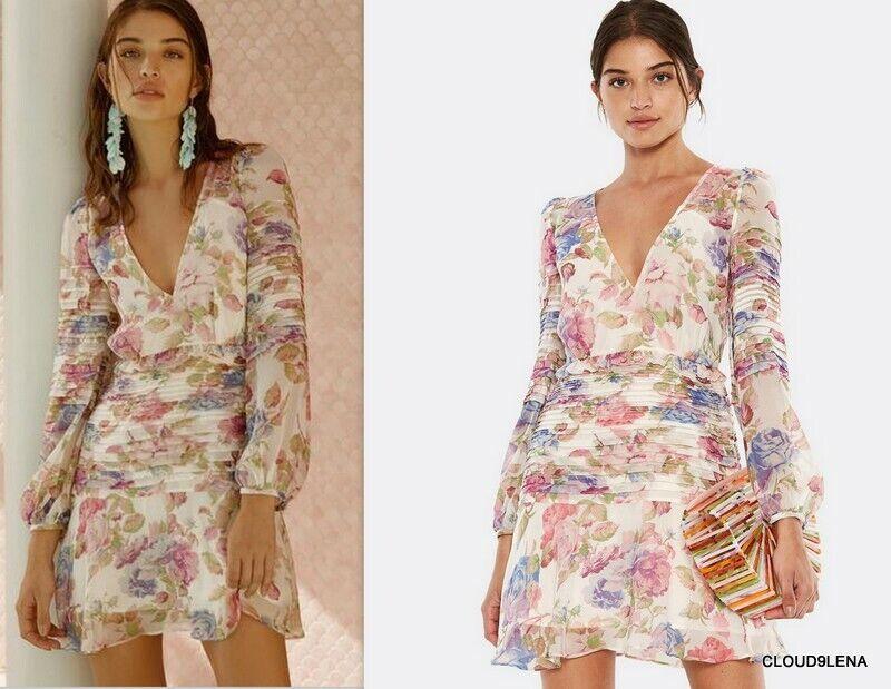 Epiphany Xl Nwt La Long Dress Silk Mini Talulah Sleeved Floral eBordWCx