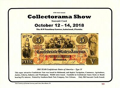 1861 $10.00 Confederate T-30 2018 Collectorama Souvenir Card L53 February