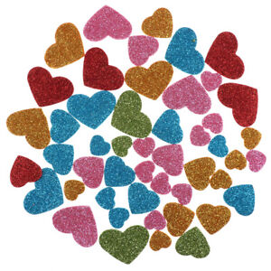Glitter-Foam-Heart-Shaped-Sticker-Scrapbooking-Art-Craft-Adhesive-Home-Decor-SRA