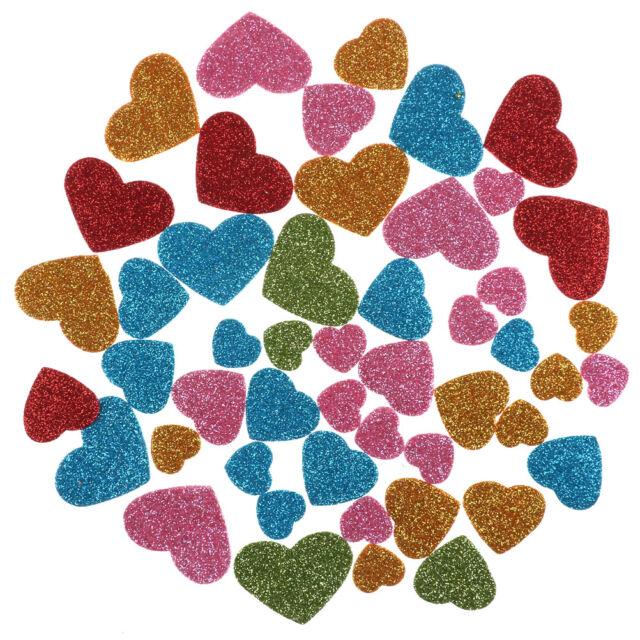 Glitter Foam Heart Shaped Sticker Scrapbooking Art Craft Adhesive Home Decor SRA