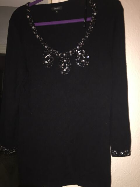 Size 16 Soft Black Stretchy Jumper With Sequins And Beads On Neckline And Cuffs