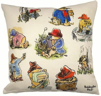 FILLED EVANS LICHFIELD VINTAGE PADDINGTON BEARS BLUE RED MADE IN UK CUSHION 17""