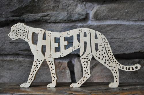 Cheetah Large Wild  Cat Zoo Animal Wood Toy Puzzle Figurine Hand Made USA