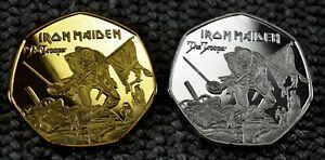 Iron-Maiden-Souvenir-duo-set-039-The-Trooper-039-Artwork-50p-collectors-Coin-Hunt