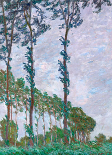 Monet 1891, Wind Effect Poplars, Canvas Print, Fade Resistant HD Print or Canvas