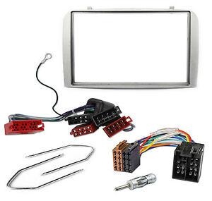 Radio-Blende-Adapter-Kabel-Set-fuer-Alfa-147-GT-Doppel-DIN-silber