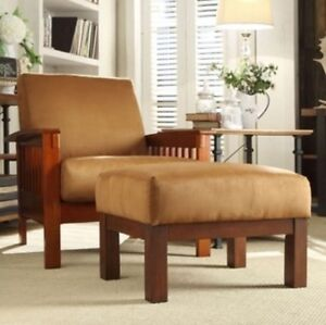 Pleasing Details About Mission Style Chair Ottoman Oak Mocha Brown Room Furniture Accent Chairs Rust Dailytribune Chair Design For Home Dailytribuneorg