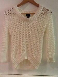 RUE 21 Cream White Loose Open Knit 3/4 Sleeve Sweater Top Juniors ...