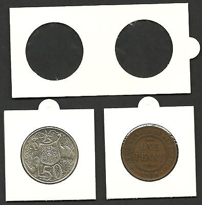 /& 10c Size Coins Bundle of 50 COIN HOLDERS 2 x 2 Self Adhesive 25mm Suits 1//