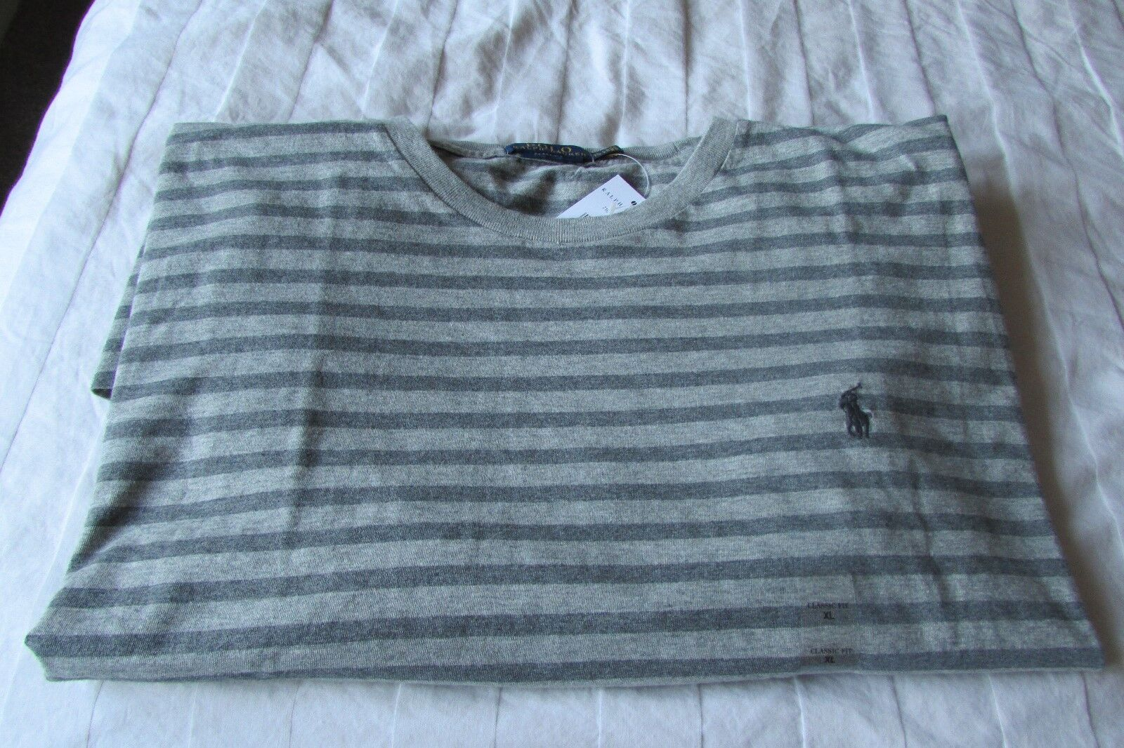 894f1e7edc75d RALPH LAUREN POLO SHIRT STRIPE GREY LONG SLEEVED XL NEW WITH TAGS ...