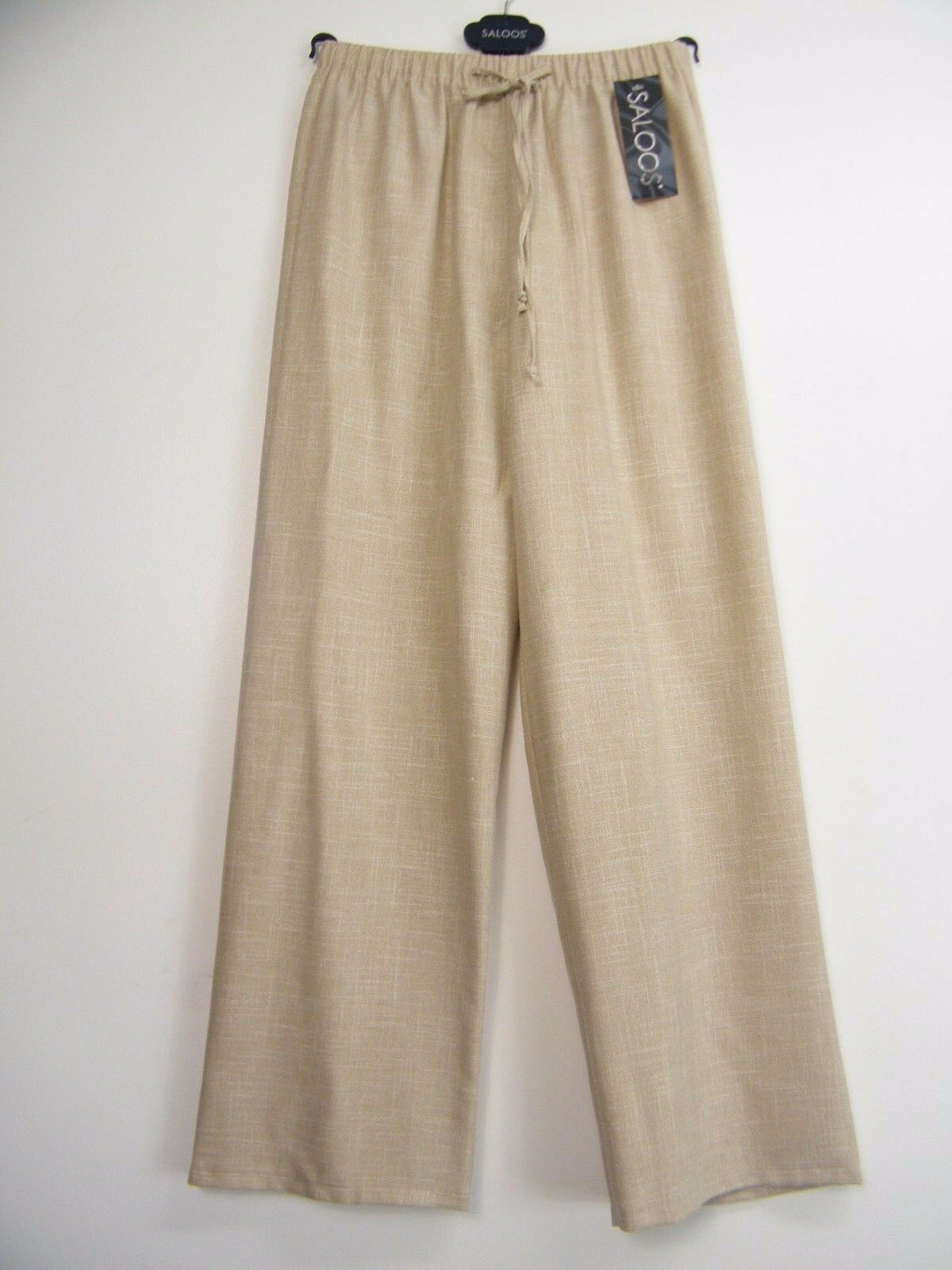 SALOOS ANIMAL PRINT BLACK/& BEIGE SPARKLY STRETCHY PALAZZO TROUSERS SIZEUK 12 14