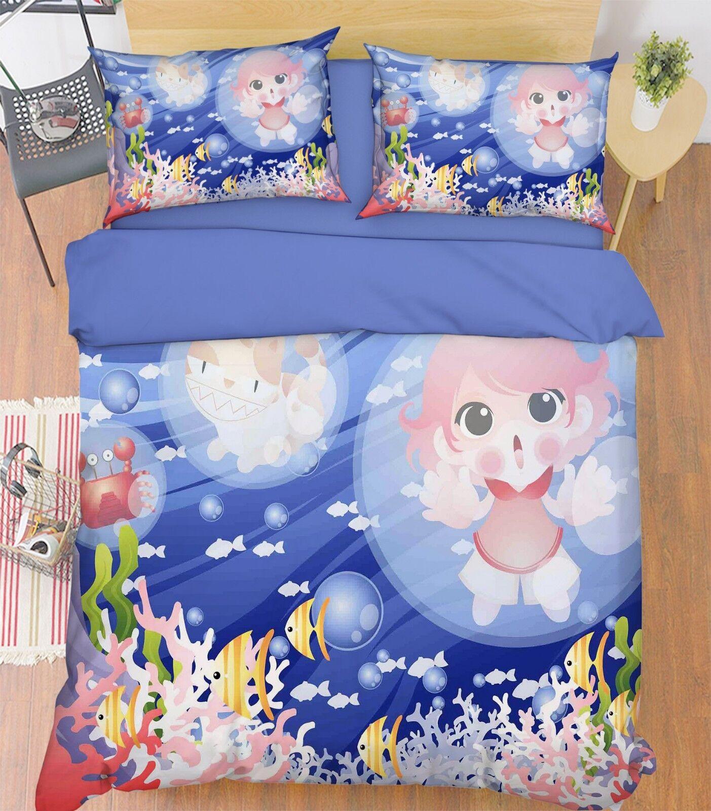 3D Marine Cartoon 57 Bed Pillowcases Quilt Duvet Cover Set Single Queen AU Carly