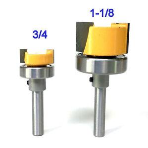 """2pc 1/4""""Sh Top Bearing Dado 3/4""""&1-1/8"""" Diameter Flush Trim Pattern Bits Set S"""