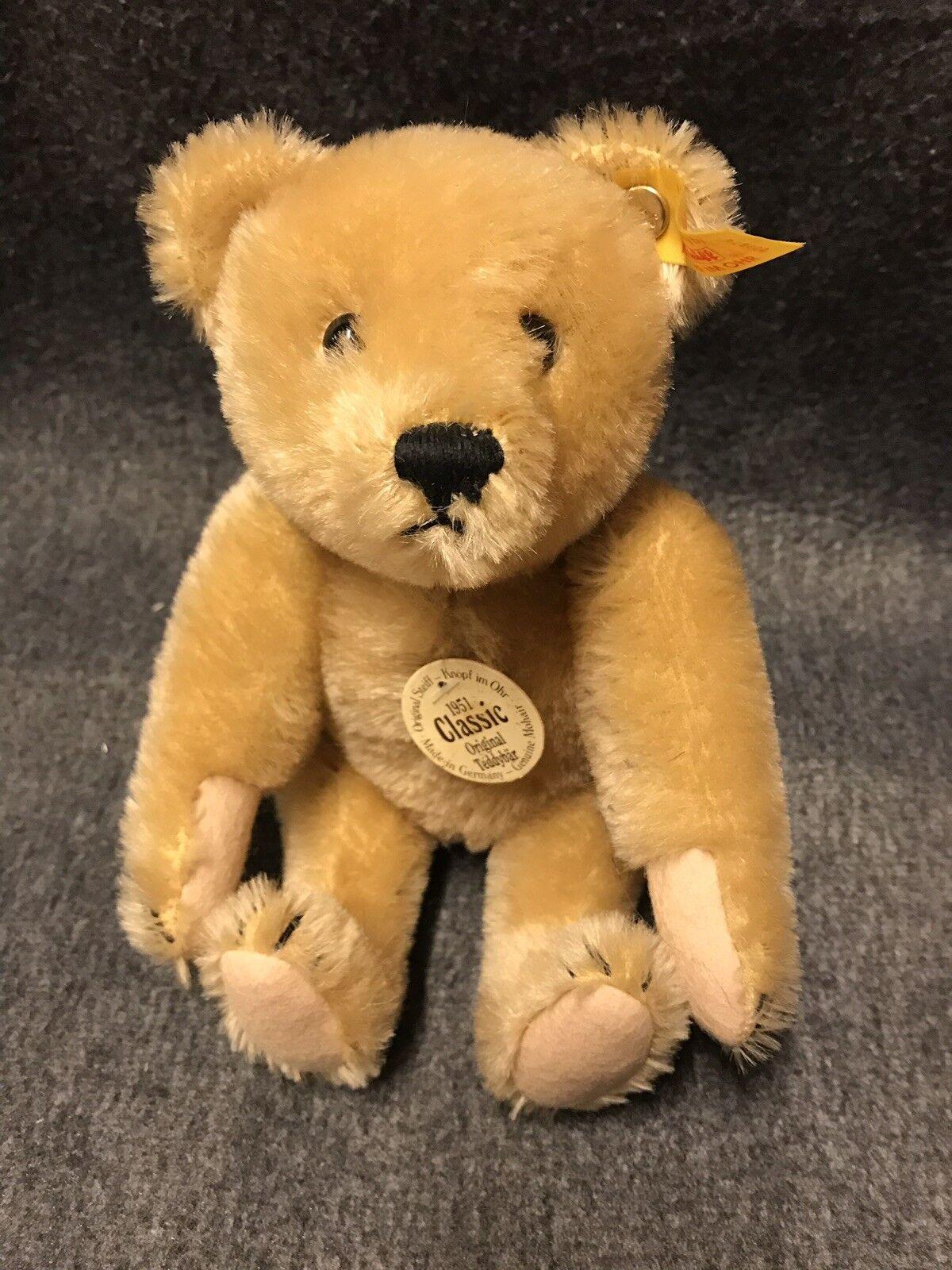 Steiff 000874 Teddybär mit Stimme Bär , 22 cm  Mohair  Classic Neu