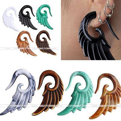 Resin Spiral Angel Wing Taper Tunnel Ear Plug Expander Stretcher Piercing Gauges