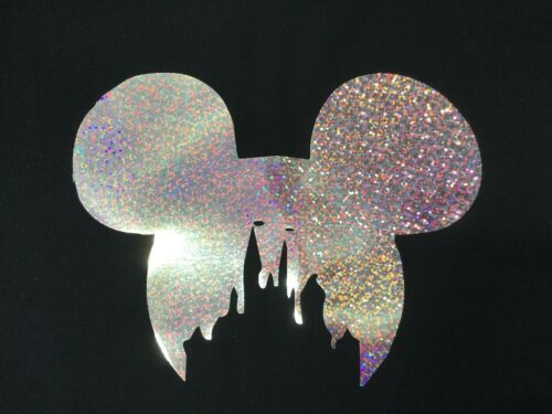 MINNIE OR MICKEY MOUSE SILVER HOLOGRAPHIC IRON ON HOTFIX T SHIRT TRANSFER