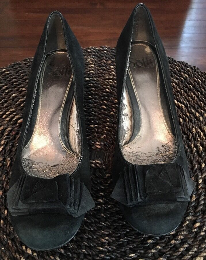 Sofft Black Suede Heel Pump shoes Round Toe Size 7N Bow 1059821 Malabar