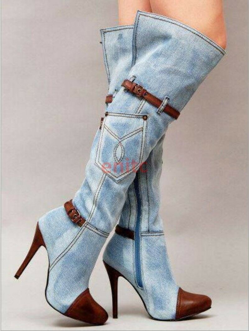 Denim Stiletto Over Over Over The Knee femmes Knight bottes High Thigh bottes Plus Taille E-11 16aea0