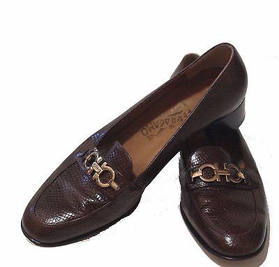 SALVATORE FERRAGAMO Women's Brown Leather Loafers Oxfords Flats Size 8 B US 7.5