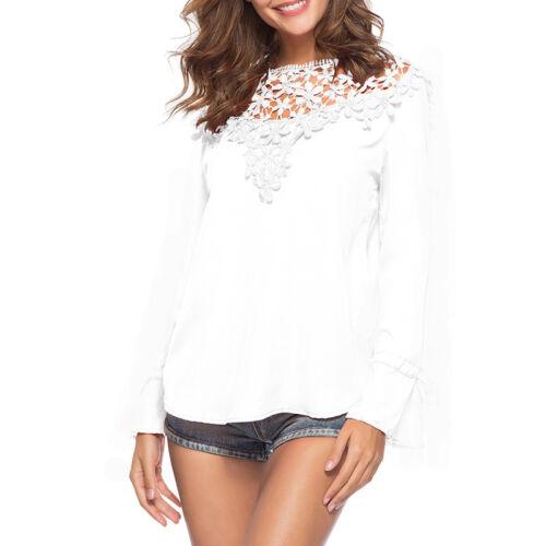Damen Spitze Hemdbluse Blusen T-Shirt Langarm Casual Party Tops Bluse Shirt Hemd