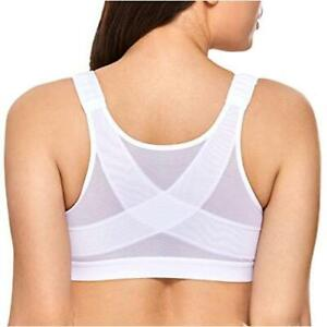 DELIMIRA Women's Full Coverage Front Closure Wire Free Back, White, Size 38B dCR