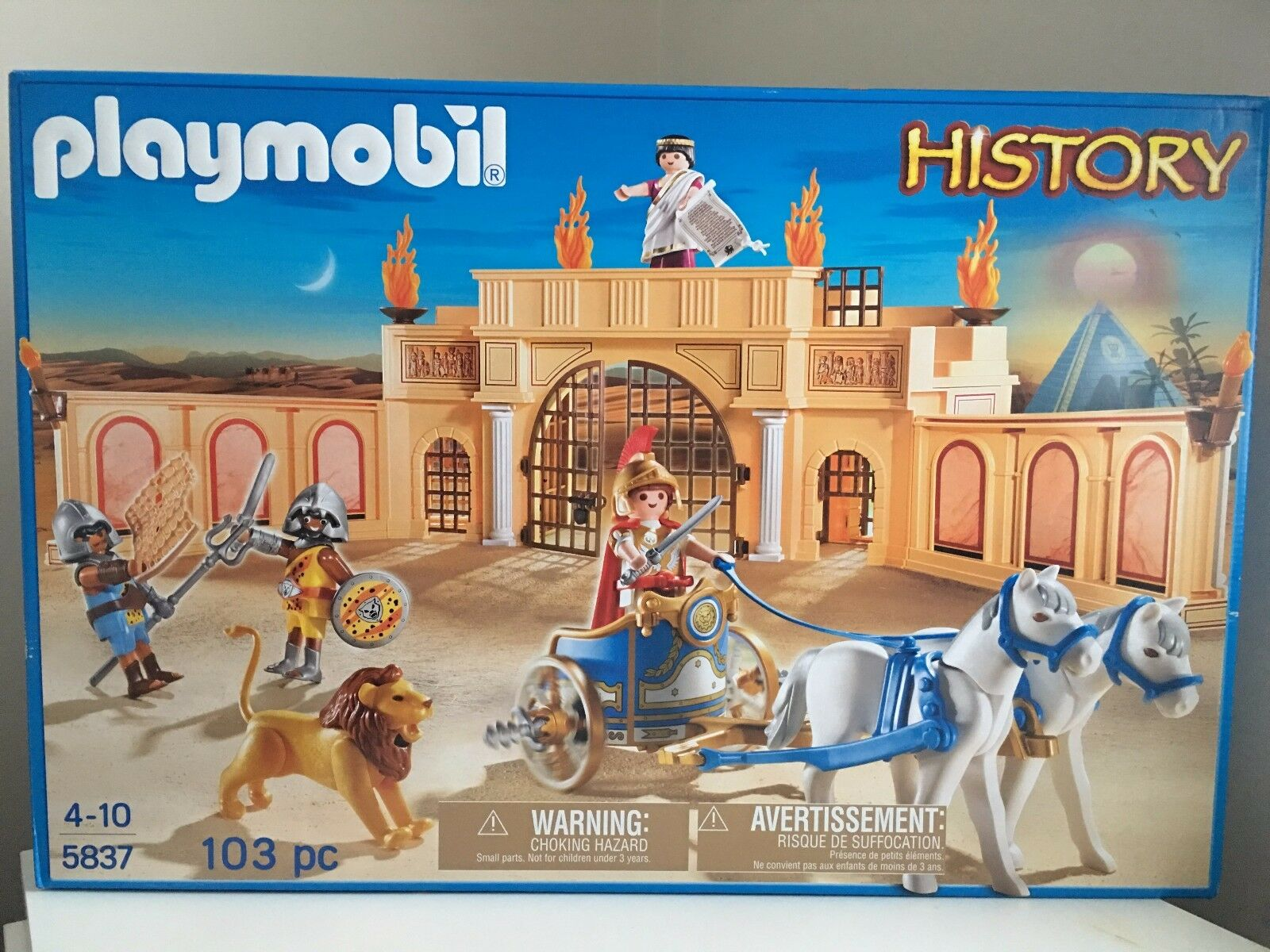 Playmobil 5837 Roman Arena Colosseum with Ceasar and Gladiator Brand New