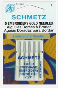 Euro-Notions Embroidery Machine Needles Size 11//75 2 pack 5-Pack