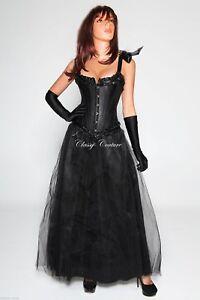 Elegant-Black-Burlesque-Corset-amp-Skirt-Costume-S-M-L-XL-XXL
