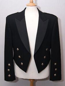 """Acs Homme écossais Laine Noire Prince Charlie Kilt Jacket 40"""" 102 Cm Long-afficher Le Titre D'origine"""