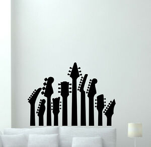 Guitar wall decal music studio vinyl sticker rock metal for Decor mural metal