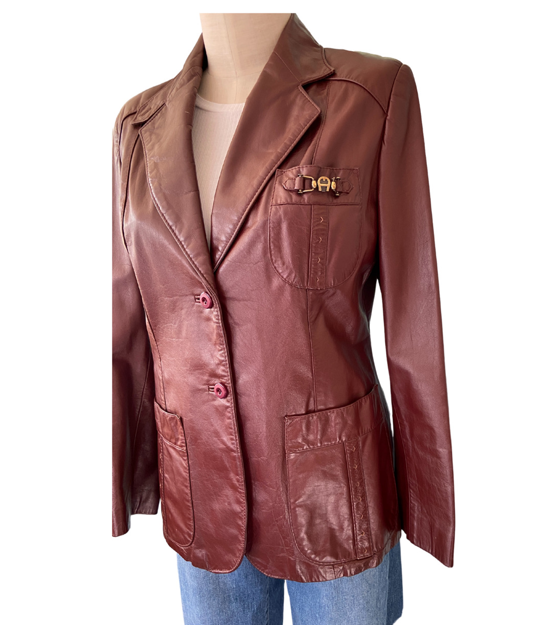 1970s Etienne Aigner Brown Fitted Blazer leather … - image 7