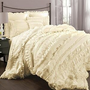 Chic ruffles ivory queen comforter set cream for Frilly bedspreads