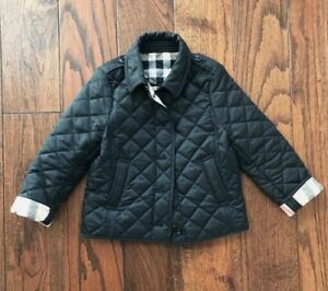 Details About Burberry Kids Unisex Check Lined Diamond Quilted Jacket In Black Sz4 Retail 285