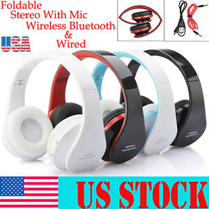 Foldable Wireless Bluetooth Headset Stereo Mic Headphone For iPhone For Samsung