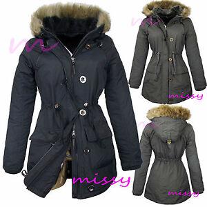 NEU Größe 8 10 12 14 16 Damen Gepolsterter Mantel Jacke gesteppt schwarz Parka