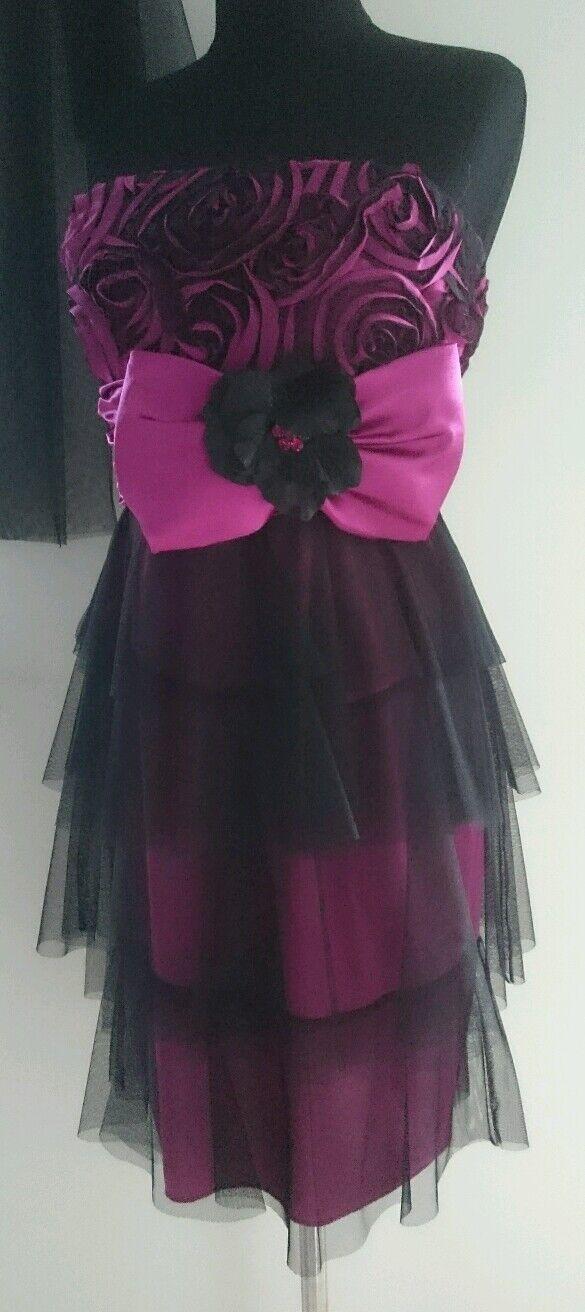 Ausstellungsstück Kleid Abendkleid Coctailkleid Gr 38 Fuchsia Schwarz NEU
