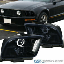 Glossy Black Ford 05 09 Mustang Tinted Halo Projector Headlights Head Lamps Pair Fits Mustang
