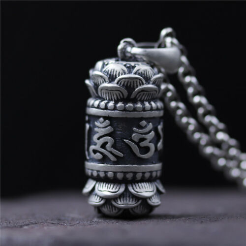 Solid 990 Sterling Silver Pendant Bless Buddhist Lotus Kwu box Pendant 30mm H