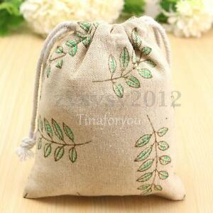 Wedding Gift Bags Printed : DIY Printed Cotton Handmade Linen Drawstring Tote Wedding Gift Bag ...