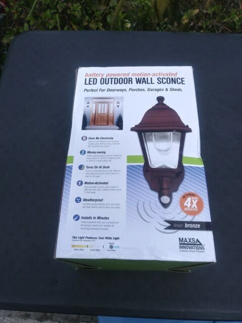 Maxsa Led Wall Sconce Battery Ed Motion Activated Outdoor Decorative