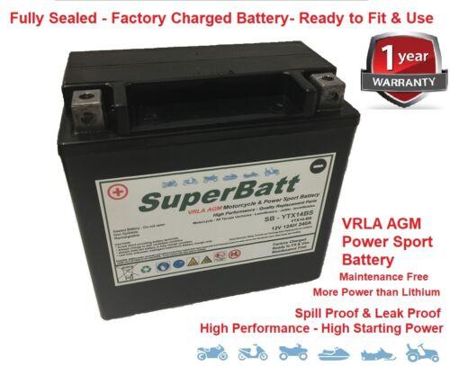 SuperBatt YTX14-BS AGM/GEL Upgrade Battery LYTX14BS Replaces CTX14-BS