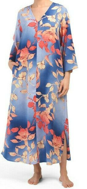 NWT N Natori bluee Coral Pink OMBRE FLORAL Silky Satin Floral Long ZIP CAFTAN L