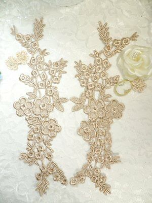 "DIY 3D Lace Appliques Gold Beige Floral Embroidered Mirror Pair 10.5/"" DH65"