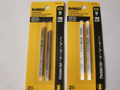 Lot of 2 Dewalt DW3710H2 10 TPI Clean Cut Wood Cutting Jig Saw Blade HCS U-Shank