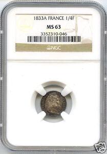 Louis Philippe I (1830-1848) 1/4 Francs 1833 Paris NGC MS63