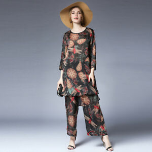 Plus-size-Womens-Casual-suits-loose-print-silk-Elegant-two-piece-tops-and-pants