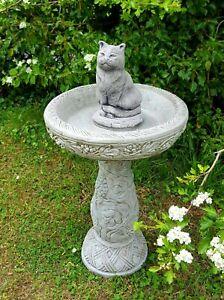 LARGE HAND BIRD BATH FEEDER Stone Cast Bespoke Handmade Ornament Statue.
