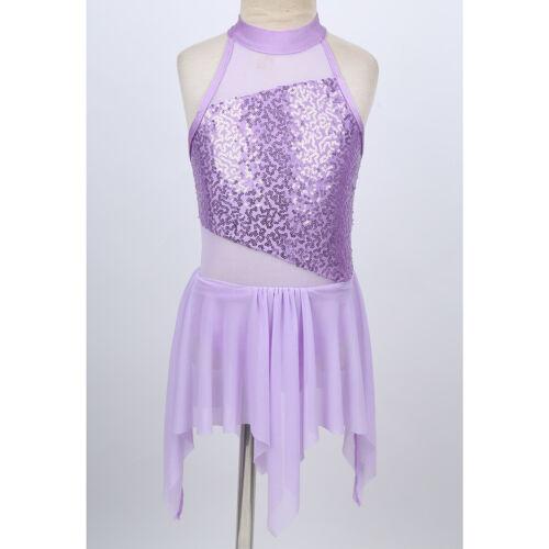 Kid Girls Sequins Lyrical Ballet Leotard Tutu Dress Irregular Dancewear Costume