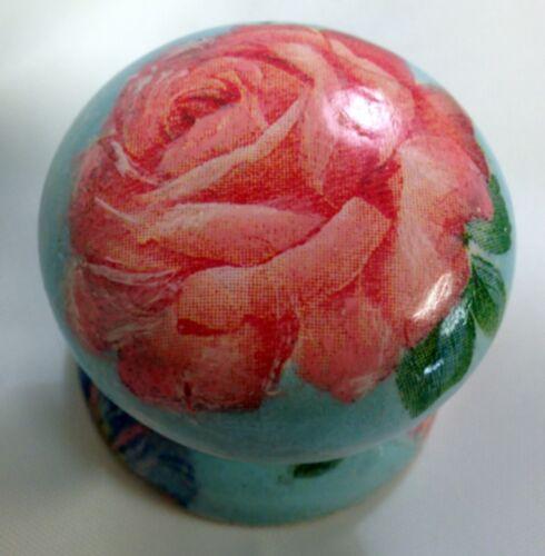 Canard-bleu pêche rose peint à la main shabby chic nouveau bouton de tiroir tirez armoire